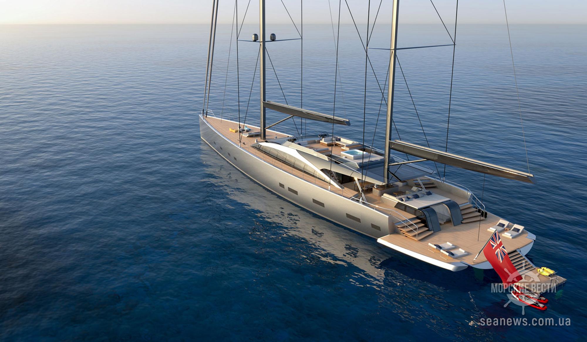 Концепция 55-метровой гибридной парусной яхты Project 175 Dixon